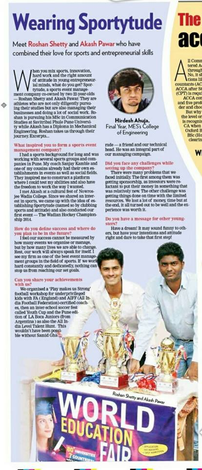Article About Sportytude Founders in Sakal Times